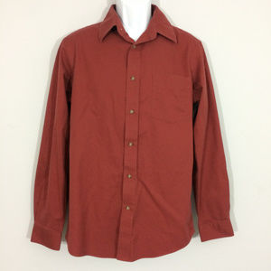 Eddie Bauer Mens M Red Classic Fit Button Up Shirt